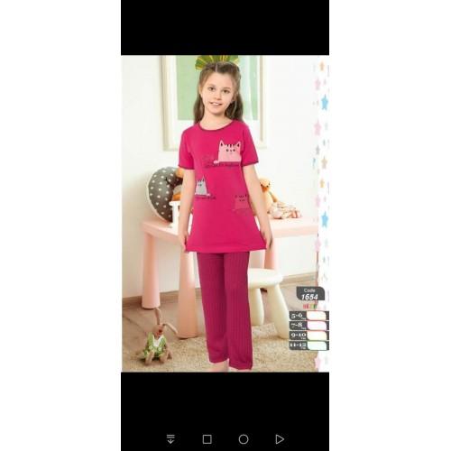 Girls cotton pajamas high...
